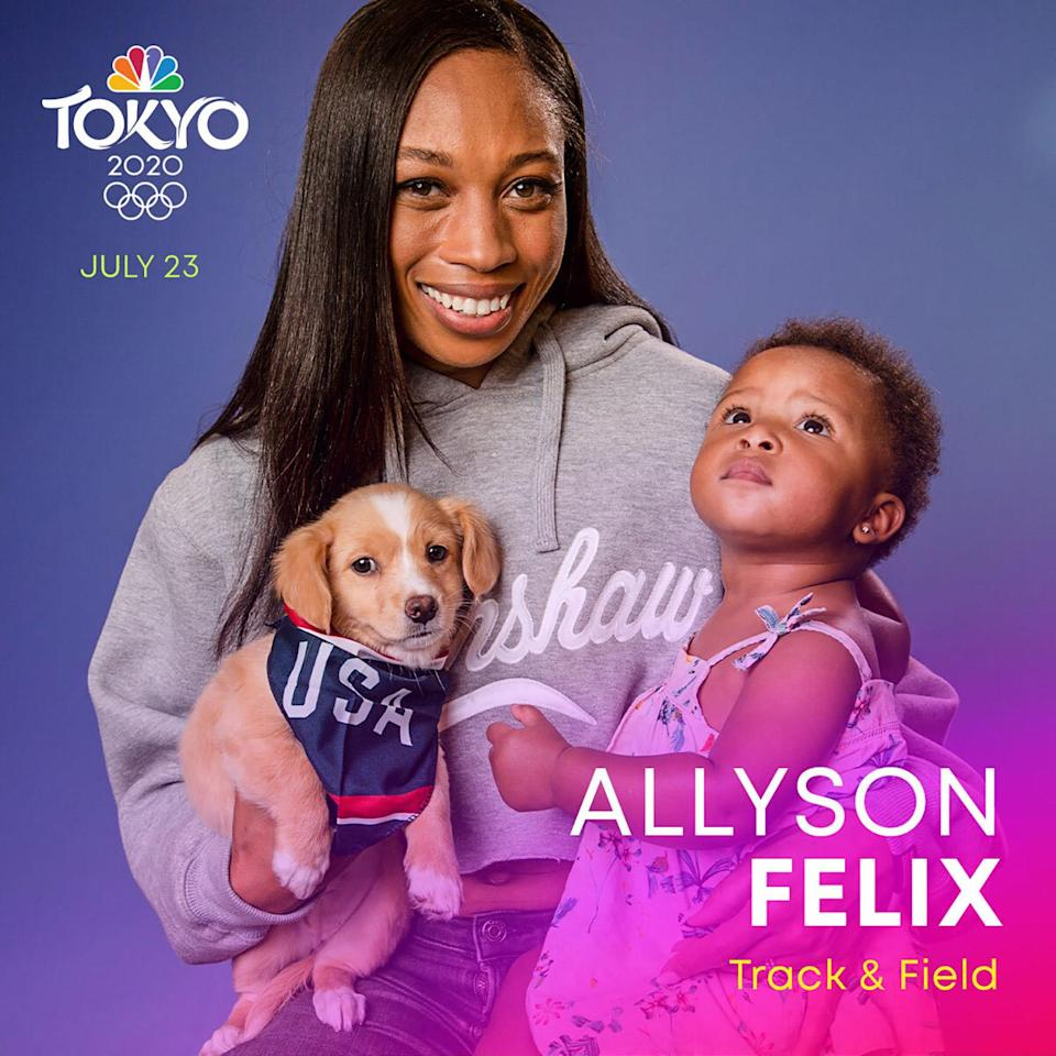 """<p><a href=""""https://www.teamusa.org/usa-track-and-field/athletes/allyson-felix"""" rel=""""nofollow noopener"""" target=""""_blank"""" data-ylk=""""slk:Felix"""" class=""""link rapid-noclick-resp"""">Felix</a> is an Olympic sprinter with a winning record. She is a four-time Olympian with nine Olympic medals, including 6 gold medals. </p>"""