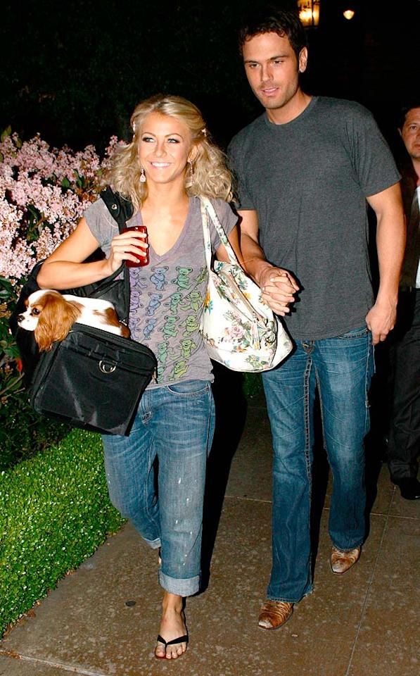 """Dancing With the Stars"" duo and real-life couple Julianne Hough and Chuck Wicks enjoyed dinner at the Grove on Monday. The country singer joked that competing on ""DWTS"" was good preparation for a wedding-day dance, but the two are just dating for now and not engaged. <a href=""http://www.x17online.com"" target=""new"">X17 Online</a> - April 6, 2009"