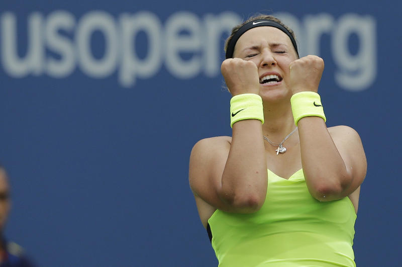 Victoria Azarenka, of Belarus, reacts after winning her match against Samantha Stosur, of Australia, in the quarterfinals of the 2012 US Open tennis tournament,  Tuesday, Sept. 4, 2012, in New York. (AP Photo/Mike Groll)