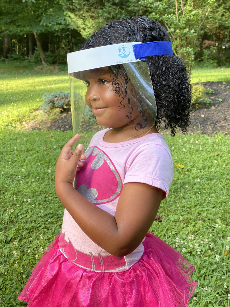 Little Lives PPE's face shields are adjustable to fit children as young as 2, and come in adult sizes, as well. (Photo: Little Lives PPE)