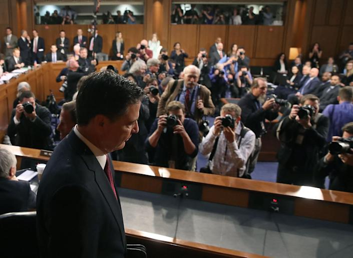 <p>Former FBI Director James Comey arrives to testify before a Senate Intelligence Committee hearing on Russia's alleged interference in the 2016 U.S. presidential election on Capitol Hill in Washington, U.S., June 8, 2017. (Photo: Jonathan Ernst/Reuters) </p>