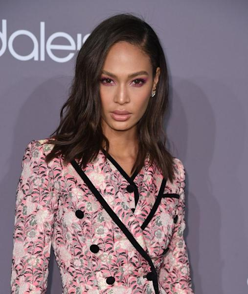 Joan Smalls attends the 2018 amfAR Gala New York at Cipriani Wall Street on February 7, 2018 in New York City