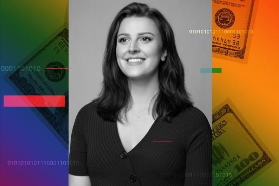Photograph of Billie Simmons over a rainbow colored background and hundred dollar bills