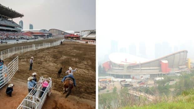 A roper competes at the Calgary Stampede on Wednesday in the left photo. By Sunday, wildfire smoke had pushed the air quality index levels in the city off the charts, rendering Calgary's downtown largely invisible from the grounds. (Jeff McIntosh/Canadian Press, Helen Pike/CBC - image credit)