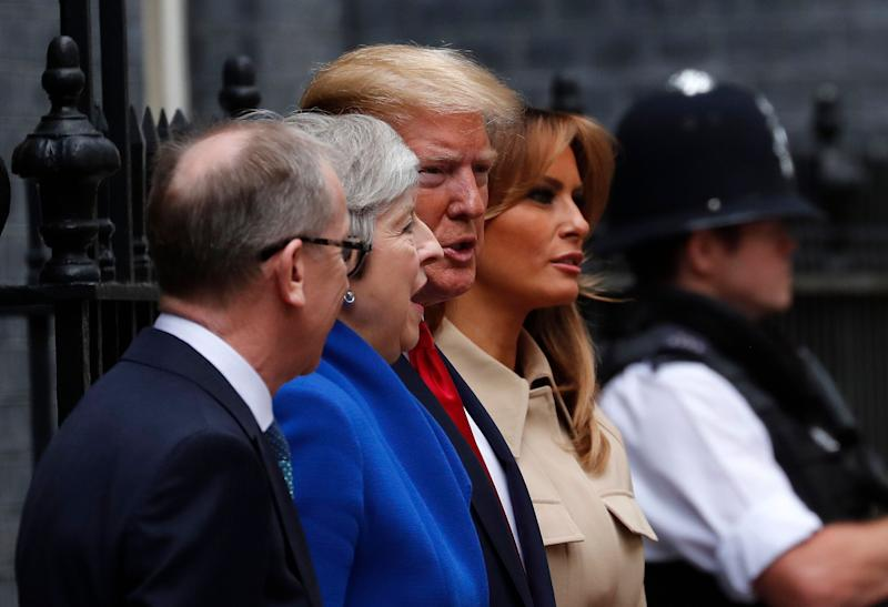 Britain's Prime Minister Theresa May and her husband Philip greet President Donald Trump and first lady Melania outside 10 Downing Street in central London, June 4, 2019. (Photo: Frank Augstein/AP)