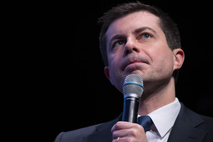 Democratic presidential candidate former South Bend, Ind., Mayor Pete Buttigieg pauses as he speaks during the New Hampshire Youth Climate and Clean Energy Town Hall, Wednesday, Feb. 5, 2020, in Concord, N.H. (AP Photo/Mary Altaffer)