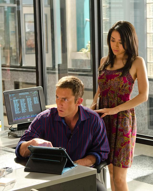 "Aimee Garcia as Jamie Batista and Desmond Harrington as Joey Quinn in the ""Dexter"" Season 8 episode, ""Dress Code."""