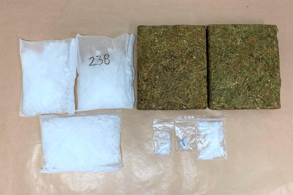 """Ice"" and cannabis seized from a suspect's residential unit in the vicinity of Edgedale Plains on Tueday (16 February). (PHOTO: CNB)"
