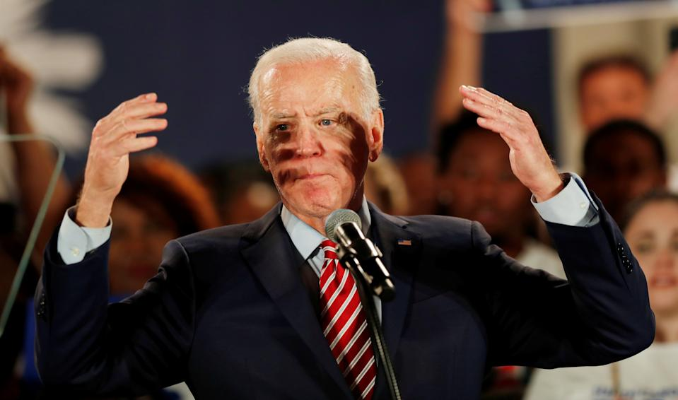 Democratic U.S. presidential candidate and former Vice President Joe Biden speaks to supporters at a campaign rally on the night of the New Hampshire primary in Columbia, South Carolina, U.S., February 11, 2020. REUTERS/Randall Hill     TPX IMAGES OF THE DAY