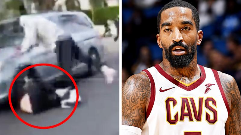 A 50/50 split image shows former NBA player JR Smith fighting man outside his LA home, next to a picture of him playing for the Cleveland Cavaliers.