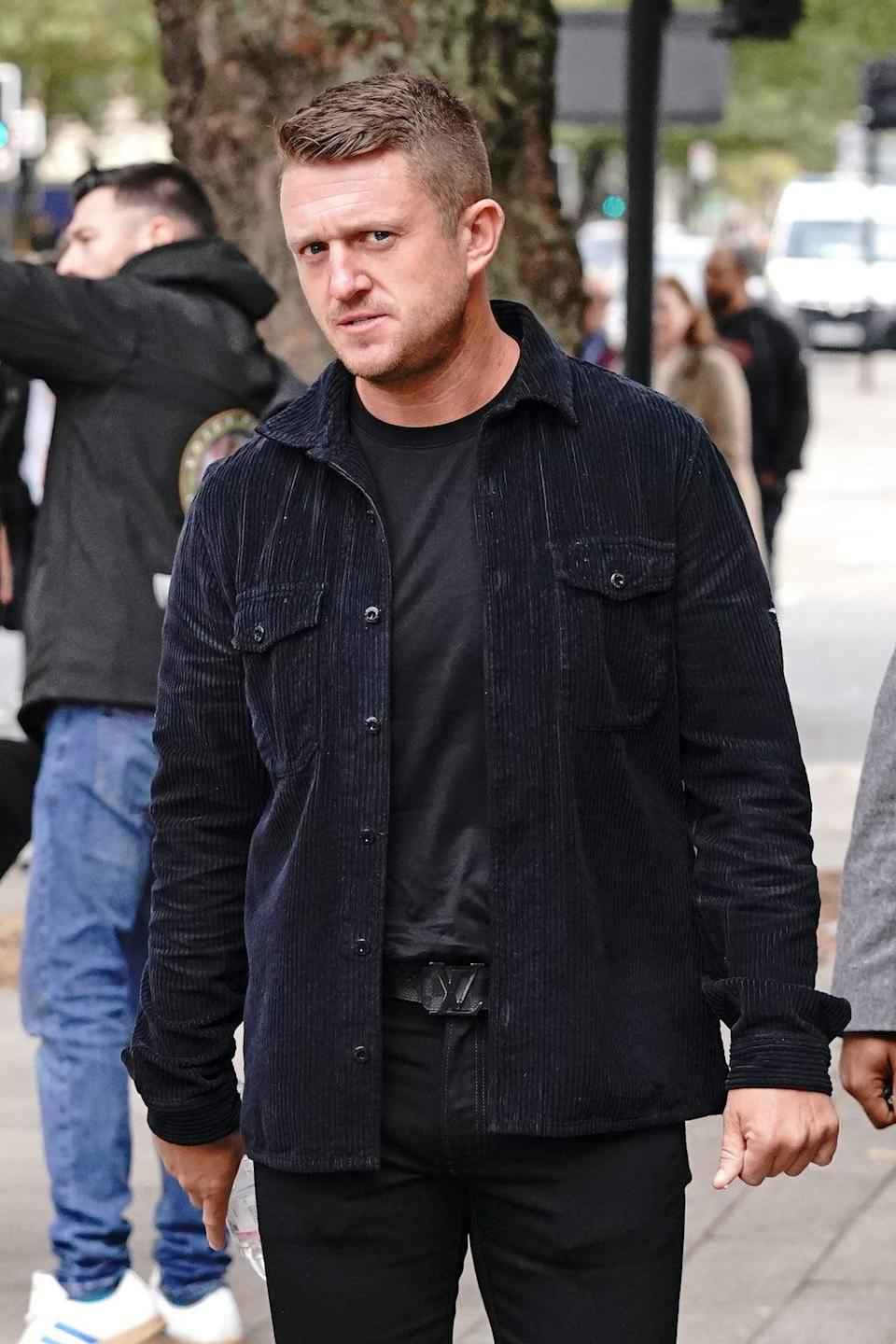 Tommy Robinson has been given a five-year stalking protection order for harassing a journalist (Jonathan Brady/PA). (PA Wire)
