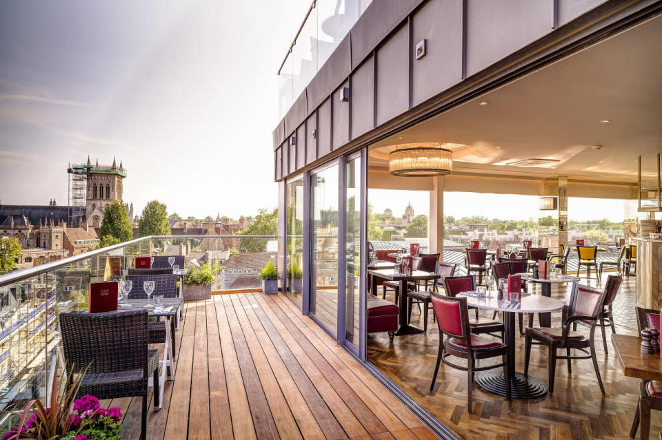 "<p>Take your tea with a view over the spires of Cambridge at Six, the skyline restaurant on the top floor of the Varsity Hotel. A classic afternoon tea of cakes, scones and finger sandwiches costs £22.50 per person. </p><p><b><a rel=""nofollow noopener"" href=""http://www.thevarsityhotel.co.uk/"" target=""_blank"" data-ylk=""slk:Thevarsityhotel.co.uk"" class=""link rapid-noclick-resp"">Thevarsityhotel.co.uk</a></b></p>"