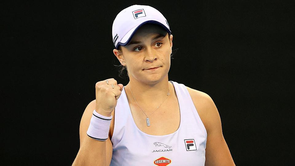 Ash Barty booked her spot in the third round with a tricky win against Daria Gavrilova. Pic: Getty