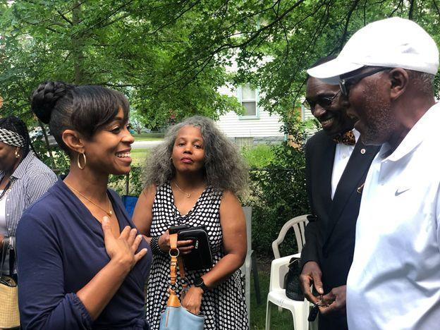 Shontel Brown, left, talks with voters. She and Turner have accused one another of corruption and insufficient loyalty to the Democratic Party. (Photo: Shontel Brown for Congress)