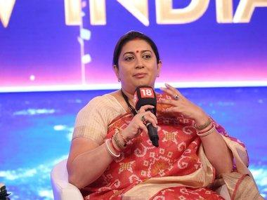 Smriti Irani speaking at the News18 Rising India Summit. News18