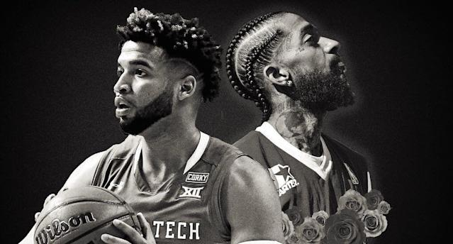 The night before he was shot to death, rapper Nipsey Hussle attended Texas Tech's Elite Eight game last Saturday to support family friend Brandone Francis. (Photo Illustration)