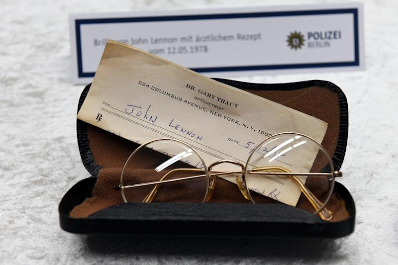 The police department of Berlin shows stolen glasses of Beatles musician John Lennon during a press conference in Berlin, Germany, 21 November 2017. Photo: Maurizio Gambarini/dpa (Photo by Maurizio Gambarini/picture alliance via Getty Images)