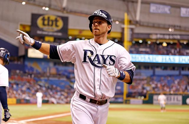 ST. PETERSBURG - JUNE 28: Ben Zobrist #18 of the Tampa Bay Rays celebrates his fourth-inning home run against the Detroit Tigers at Tropicana Field on June 28, 2013 in St. Petersburg, Florida. (Photo by J. Meric/Getty Images)