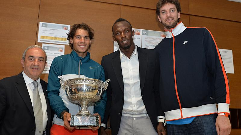 Rafael Nadal, Usain Bolt and Pau Gasol, pictured here after the French Open in 2013.