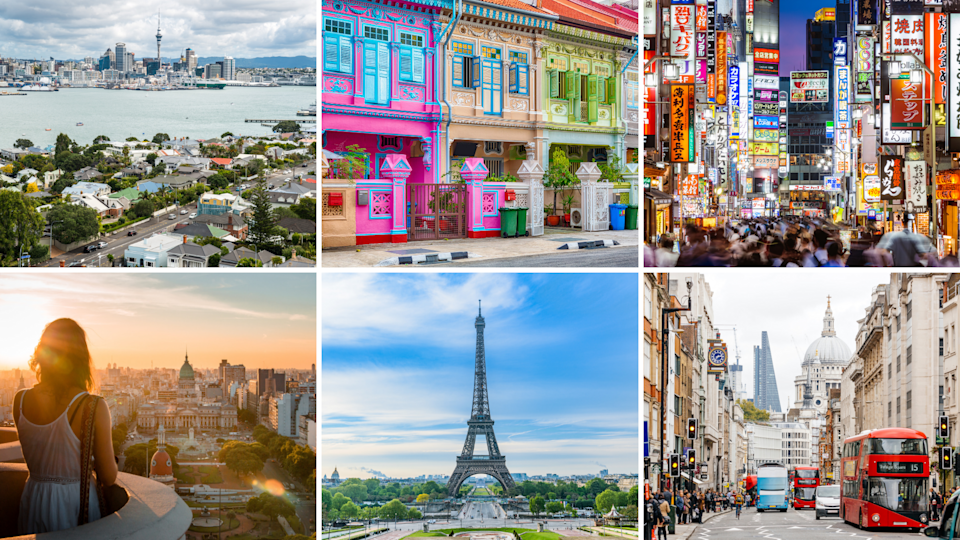Pictured: Auckland, Singapore, Tokyo, Buenos Aires, Paris and London. Images: Getty