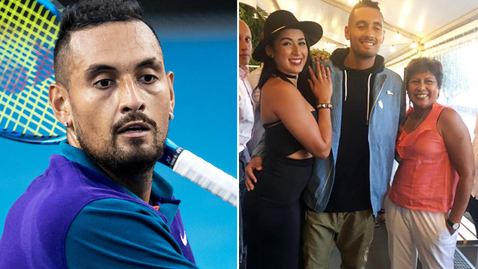 Nick Kyrgios, pictured here at Melbourne Park ahead of the Australian Open.