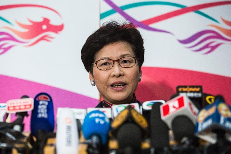 Carrie Lam announces her resignation from the Legislative Council in anticipation of running for Chief Executive in Hong Kong on January 12, 2017