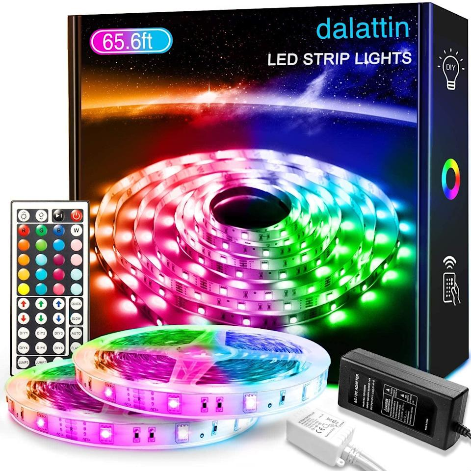 <p>Backlight your bedroom, entertainment center, work-from-home setup, and more with the <span>Dalattin Led Strip Lights With 44 Keys Remote, 2 Rolls of 32.8ft</span> ($28).</p>