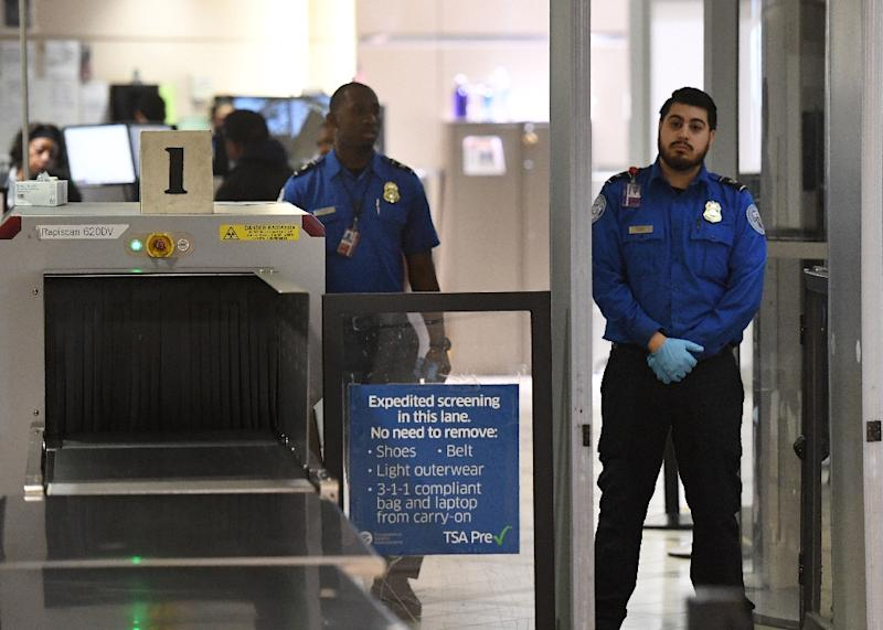 Transportation Security Administration officers (TSA) stand on duty at the departure area of the Los Angeles International Airport in Los Angeles (AFP Photo/Mark RALSTON)