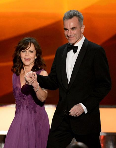 Sally Field and Daniel Day-Lewis onstage at the Screen Actors Guild awards held at The Shrine Auditorium on January 27, 2013. Day-Lewis won the best actor award for his role as America's 16th president in Lincoln