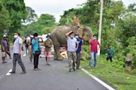 KAZIRANGA, INDIA - JULY 18, 2020: Forest official stand guard on NH-37 after a a rhino rests near NH 37 after straying out from flood-affected Kaziranga National Park, in Nagaon district of Assam ,India - PHOTOGRAPH BY Anuwar Ali Hazarika / Barcroft Studios / Future Publishing (Photo credit should read Anuwar Ali Hazarika/Barcroft Media via Getty Images)
