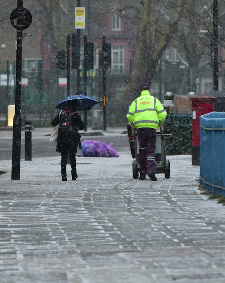 Parts of North London were hit by snow on Monday morning (Picture: Rex)