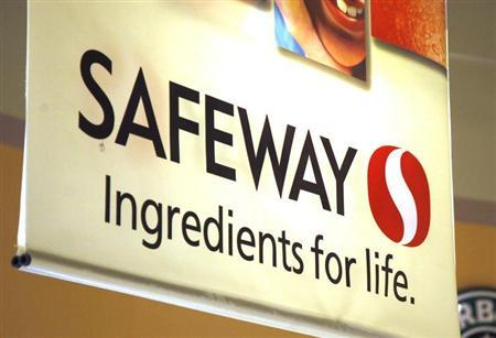 A sign hangs in the local Safeway grocery store in Arvada