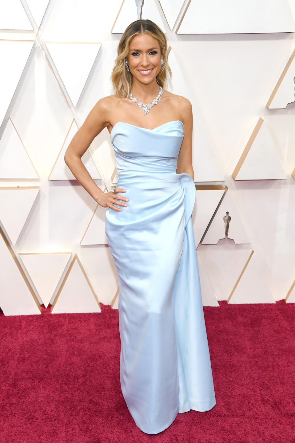 The E! red carpet correspondent and reality star channelled old Hollywood glamour in an ice blue gown by Valdrin Sahiti.