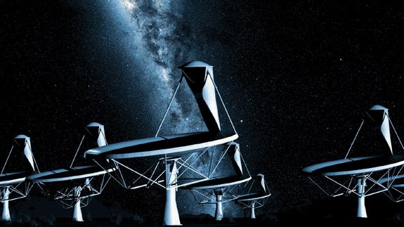 An artist's impression of the SKA's 15-meter dishes, staring up at the Milky Way.