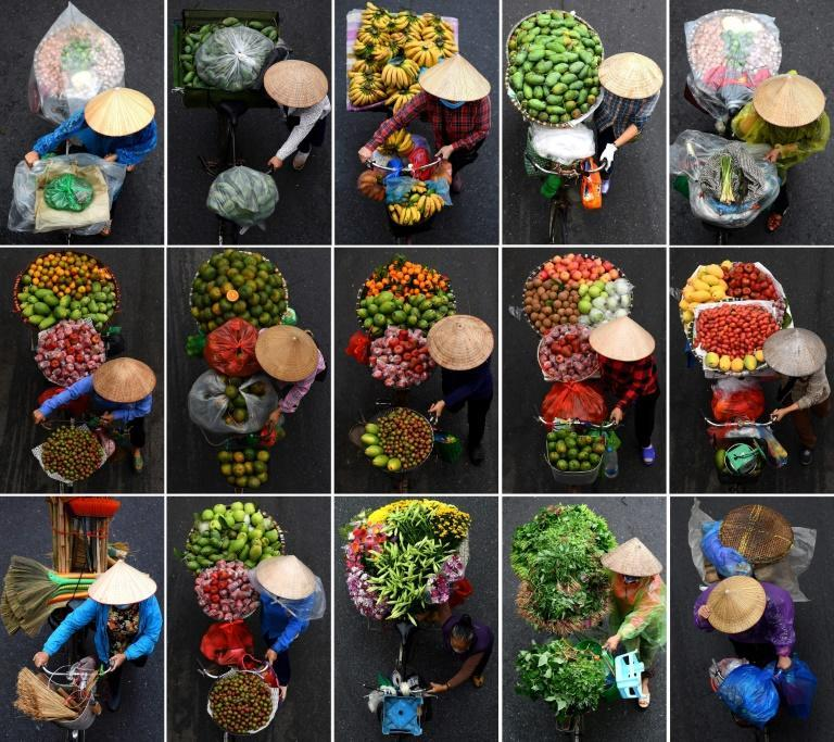 This combination photograph shows vendors carrying various goods for sale on their bicycles in Hanoi on March 18, 2021