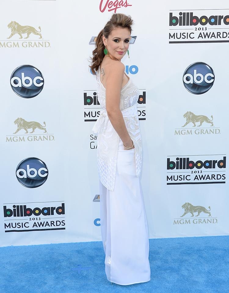 LAS VEGAS, NV - MAY 19:  Actress Alyssa Milano arrives at the 2013 Billboard Music Awards at the MGM Grand Garden Arena on May 19, 2013 in Las Vegas, Nevada.  (Photo by Jason Merritt/Getty Images)