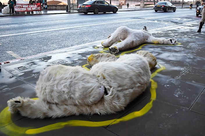 XR protesters dressed as dead polar bears in Westminster, London, on Feb. 17. | Jeremy Selwyn—Evening Standard/Redux