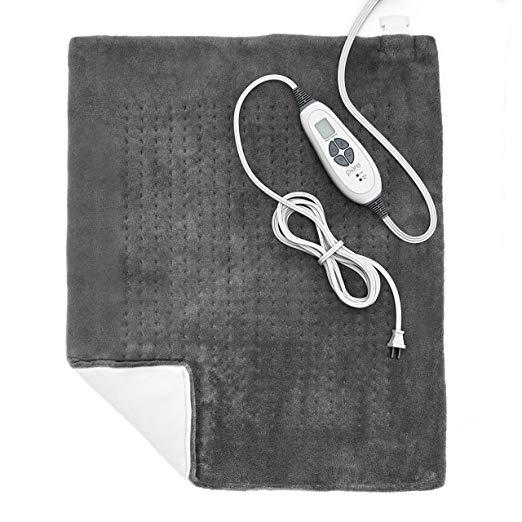 grey heating pad with controller
