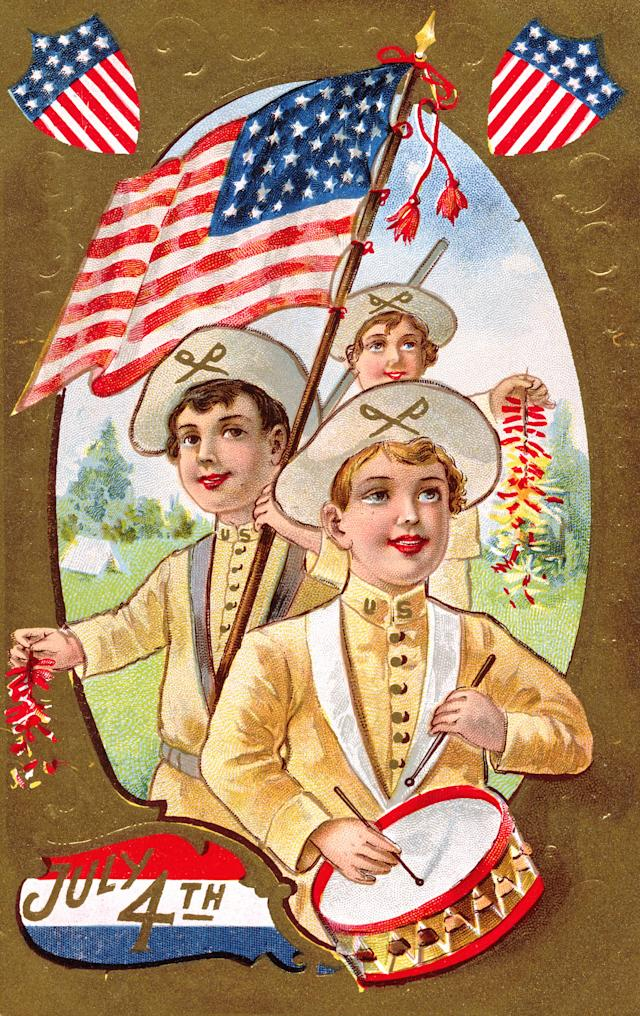 <p>July Fourth postcard with spirit of '76 theme. (Photo: K.J. Historical/Corbis via Getty Images) </p>