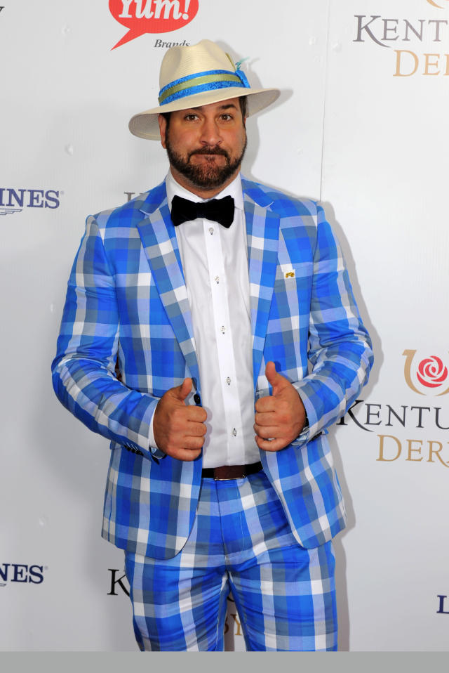 Joes Fatone is photographed at the 140th Kentucky Derby Saturday, May 3, 2014 in Louisville Ky. (Photo by Joe Imel/Invision/AP)