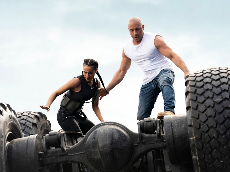 Ramsey (Nathalie Emmanuel) and Dom (Vin Diesel): adrenaline-addicted, international superspies embroiled in soap opera dynamics (Universal Pictures)