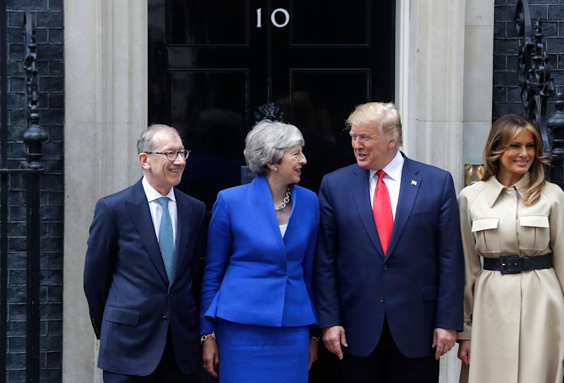 Britain's Prime Minister Theresa May and her husband Philip greet President Donald Trump and first lady Melania outside 10 Downing Street in central London, June 4, 2019. (Photo: Kirsty Wigglesworth/AP)