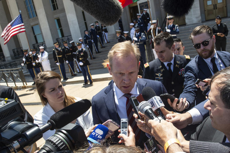 Patrick Shanahan speaks to reporters at the Pentagon on June 14. (Photo: Eric Baradat/AFP/Getty Images)