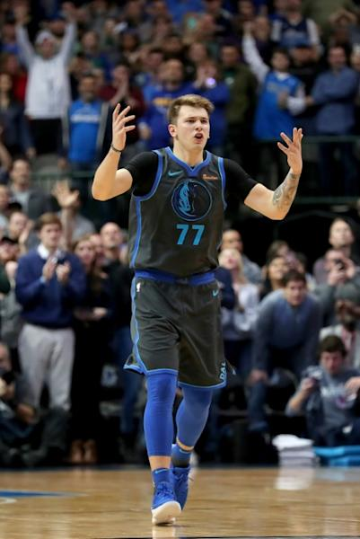 Dallas rookie Luka Doncic reacts in the final seconds of the Mavericks' NBA win over the Golden State Warriors