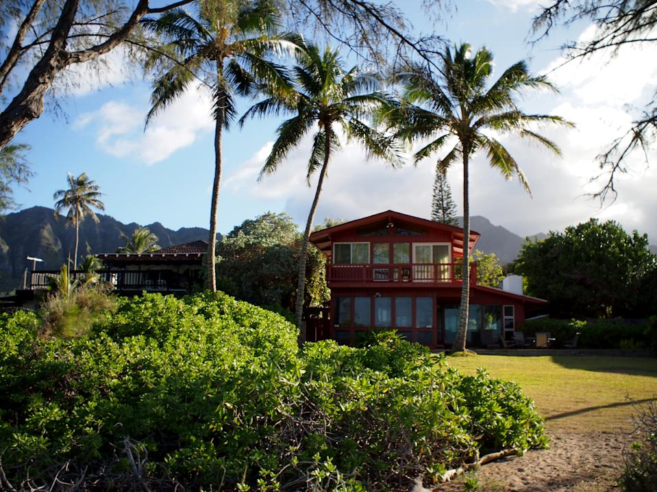 Path to Red Beach House in Waimanalo on a Beautiful Day on Oahu, Hawaii.