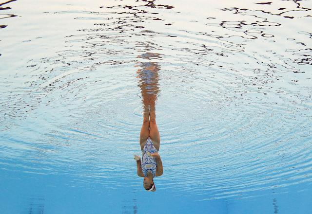 <p>Michelle Zimmer of Germany competes in the synchronized Solo Technical Women Preliminary at the 17th FINA World Aquatics Championships in, Budapest, Hungary, July 14, 2017. (Photo: Michael Dalder/Reuters) </p>