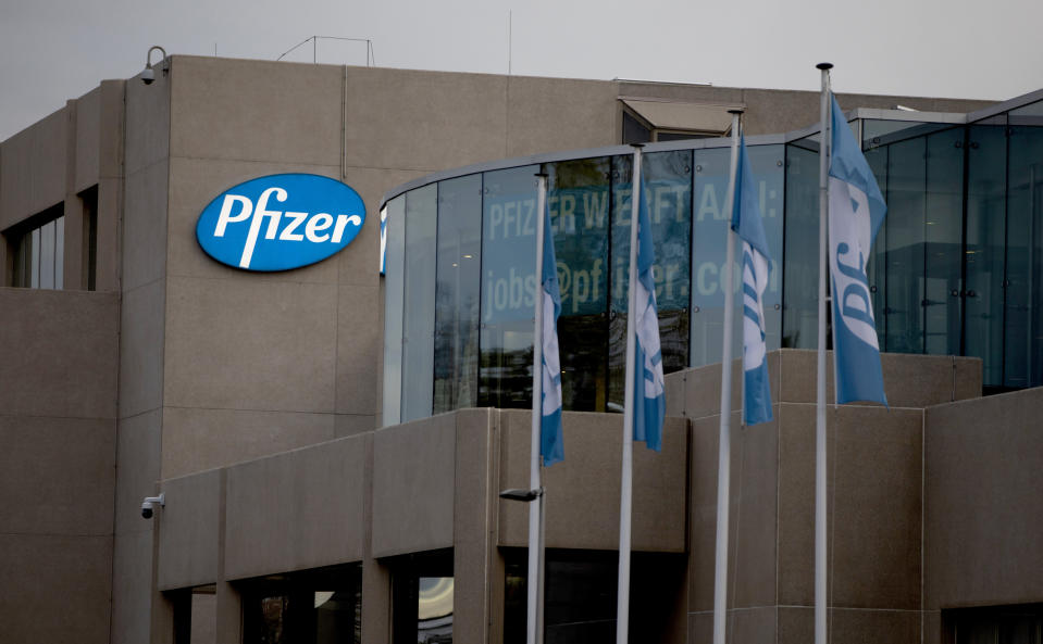 A general view of Pfizer Manufacturing Belgium in Puurs, Belgium, Monday, Nov. 9, 2020. Pfizer said Monday that early results from its coronavirus vaccine suggest the shots may be a surprisingly robust 90% effective at preventing COVID-19, putting the company on track to apply later this month for emergency-use approval from the Food and Drug Administration in the United States. (AP Photo/Virginia Mayo)