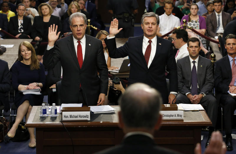 Michael Horowitz, left, and FBI Director Christopher Wray