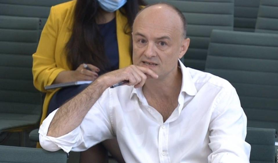 Dominic Cummings, former chief adviser to Prime Minister Boris Johnson, giving evidence to a joint inquiry of the Commons health and social care and science and technology committees (PA Wire)