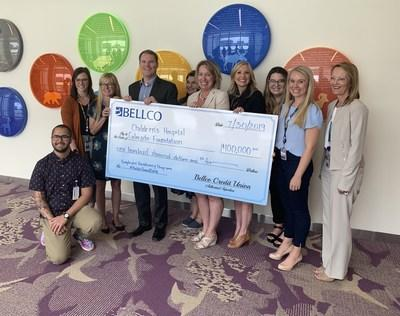 Bellco Credit Union presented a grant of $100,000 to Children's Hospital Colorado to support wellness programs that address secondary trauma and caregiver fatigue.